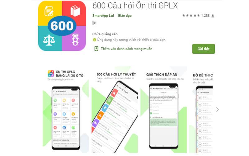 600 câu hỏi ôn thi GPLX